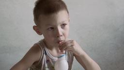 child children drinking milkshake Footage