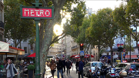 Entrance to the subway in Paris Live Action