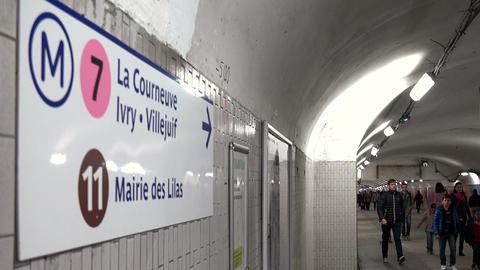 Metro Paris. Going underground. France Footage