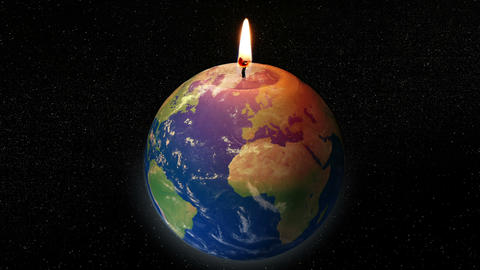 global warming earth candle 11781 Animation
