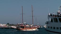 Greece the Aegean Sea Kos 002 wooden sailing boat starts excursion Footage