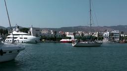 Greece the Aegean Sea Kos 004 modern sailing yacht starts a day trip Footage