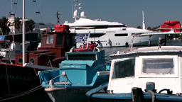 Greece the Aegean Sea Kos 006 old boats and a modern motor yacht Footage