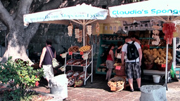 Greece the Aegean Sea Kos 010 market stalls with natural sponges for tourists Footage