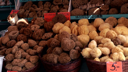 Greece the Aegean Sea Kos 011 market stalls with natural sponges for tourists Footage