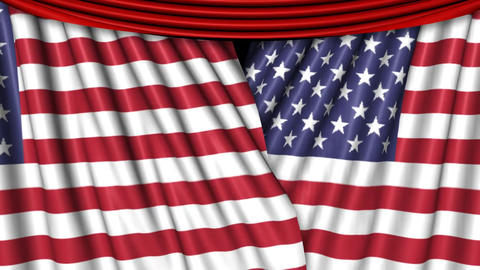 US Flag Curtains Overlay Stock Video Footage