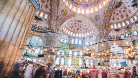 Pan timelapse of The Blue Mosque interior or Sultanahmet indoors in Istanbul Footage