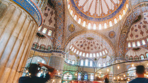 Zoom out Timelapse of The Blue Mosque interior or Sultanahmet indoors in Footage