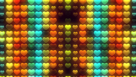 Free Footage - Abstract Loopable Background, flashing wall of hearts CG動画素材