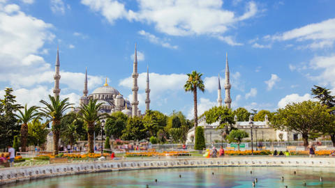 Zoom in timelapse of The Blue Mosque or Sultanahmet outdoors in Istanbul city in Footage