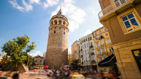 Timelapse of famous tourist place Galata tower in Istanbul in Turkey Live Action
