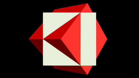 Logotype video. Two cubes, static red box and rotating white box on black Animation