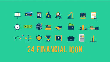 24 Financial icons Plantilla de After Effects