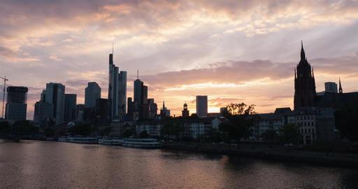 Frankfurt skyline sunset time-lapse Image