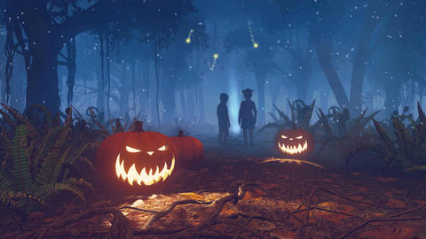 Lost children in scary halloween forest at night Image