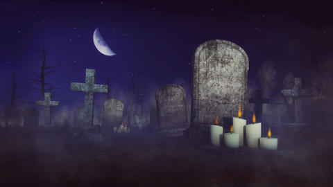 Spooky cemetery at moonlight night Stock Video Footage