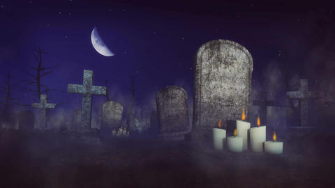Spooky cemetery at moonlight night Animation