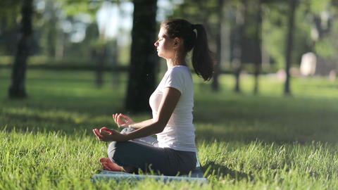 Woman practices yoga in the park Filmmaterial
