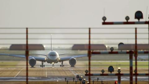 Airplane braking after landing Footage