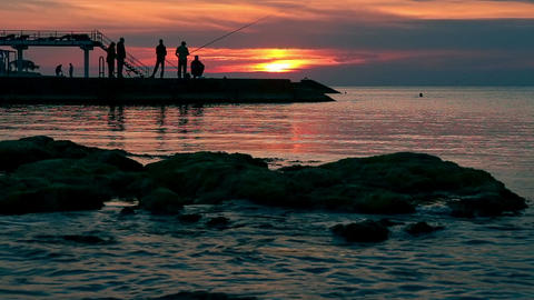 The sea shore at sunset Filmmaterial