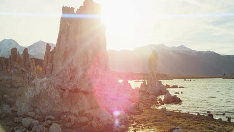 Mono lake rocky terrain sunset Live Action