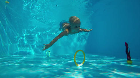 Children's games in the pool Footage
