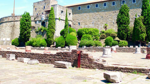 Ancient roman ruins near the San Giusto castle in Trieste, Italy Footage