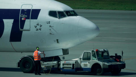 WARSAW, POLAND - MAY, 18, 2017. LOT Boeing 737 airliner being maintained at the Footage