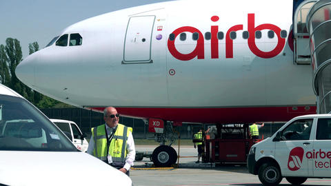 BERLIN, GERMANY - MAY, 18, 2017. Air Berlin commercial plane being maintained Footage