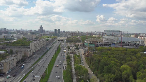 Leningradsky prospekt in Moscow, one of major city avenues Footage