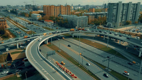 Traffic jam on city highway interchange in Moscow Footage