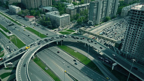 Traffic jam on city road junction in Moscow Footage