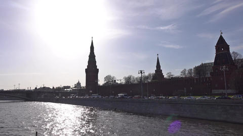 Moscow river and Kremlin silhouette on a sunny day Footage