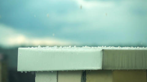 Hailstones hitting metal roof Footage
