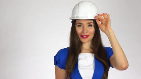 Portrait of smiling female construction engineer Footage