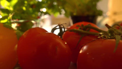 Fresh vegetables for cooking against shining sun Footage