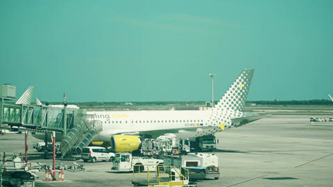 BARCELONA, SPAIN - APRIL, 15, 2017. Pan shot of a Vueling Airlines commercial Footage