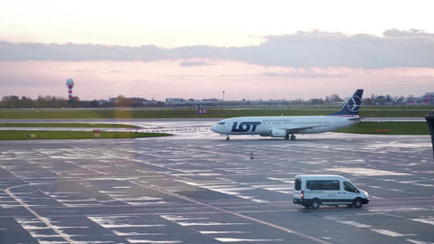 WARSAW, POLAND - APRIL, 14, 2017. LOT Polish Airlines Boeing 737-45D airplane Footage