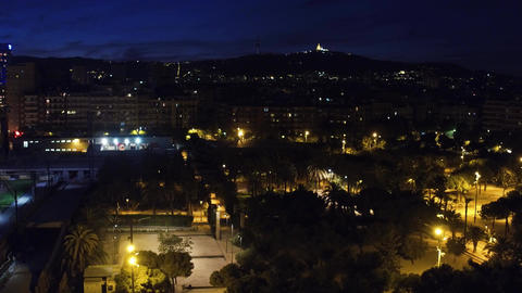 Barcelona cityscape at night Footage