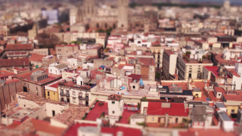Barcelona dwelling houses rooftops Footage