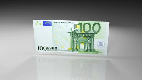 Close up of euro banknote in rotation view on a glossy surface Animation