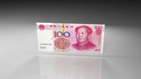 Close up of China yuan banknote in rotation view on a glossy surface Animation