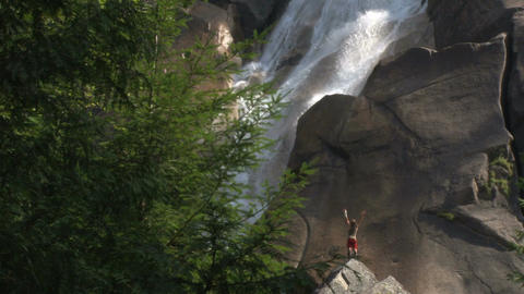 Success reachin scenic waterfall Footage