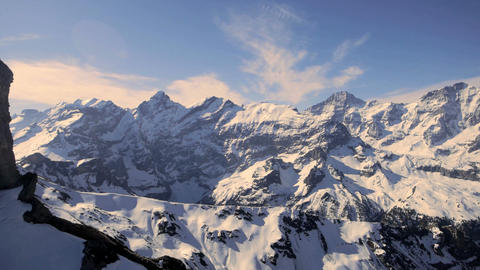 Snow mountain panorama mountain peak alps glaciers aerial view Live Action