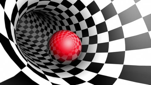 Red ball in a chess tunnel (chess metaphor). The space and time. Cyclical 3D Animation