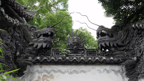 Artwork Decoration At Yu Garden In Shanghai China Asia Footage