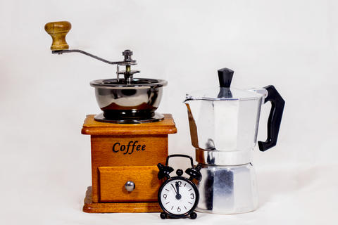 Alarm clock, coffee grinder and boiler Photo