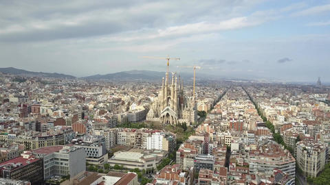 Basilica and Expiatory Church of the Holy Family in Barcelona Footage