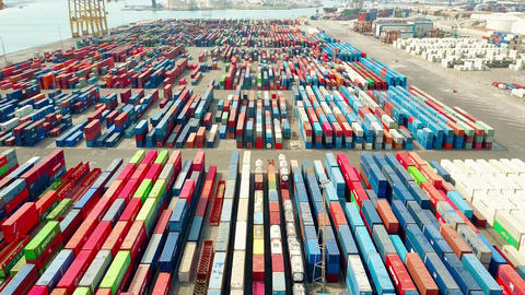 BARCELONA, SPAIN - APRIL, 15, 2017. Aerial shot of big port container yard and Footage