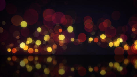 Red circle blurred lights with reflection seamless loop animation Animation